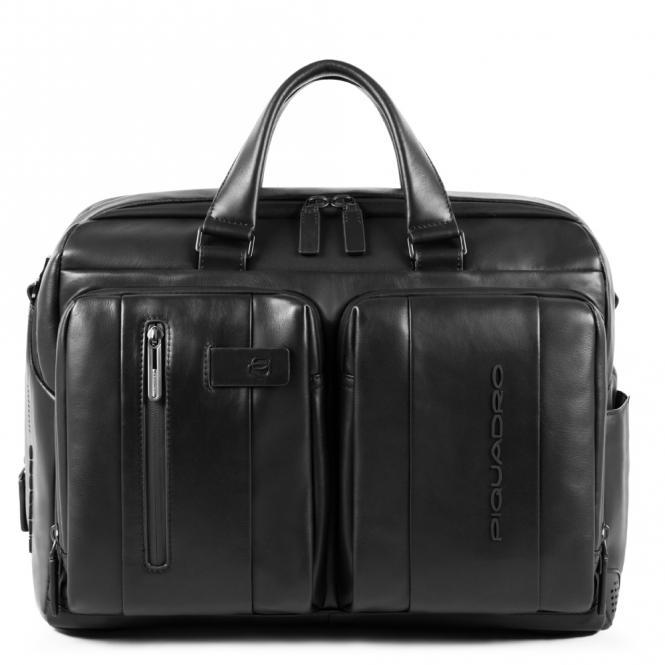 Kurzgrifflaptoptasche mit iPad-Fach und zwei Fächern schwarz