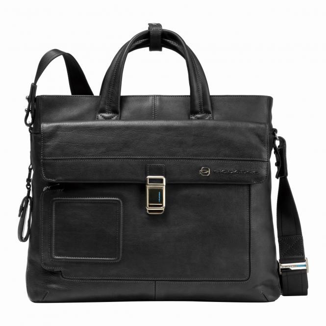 Laptoptasche mit zwei Griffen und Vordertasche black