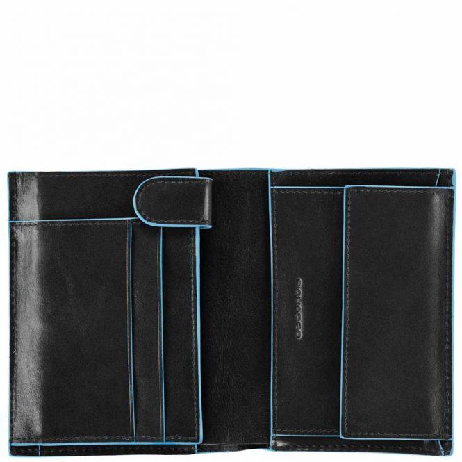 Hochformatbörse mit Hartgeldfach, Kreditkartenfächern und zwei Innenklappen Schwarz