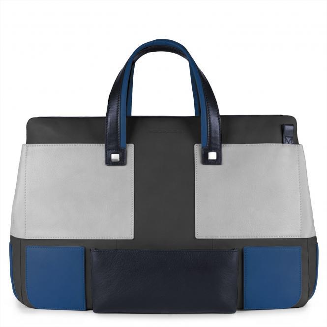 Doppelgriff-Laptoptasche mit gepolstertem iPad® -Fach blau
