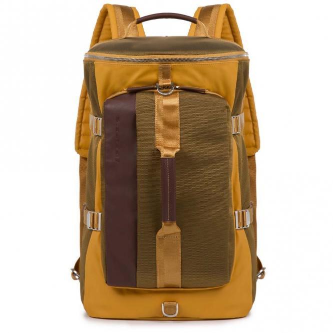 Erweiterbarer Laptoprucksack/Umhängetasche mit iPad®Air/Pro 9,7-Fach und Antistoßschutz mustard