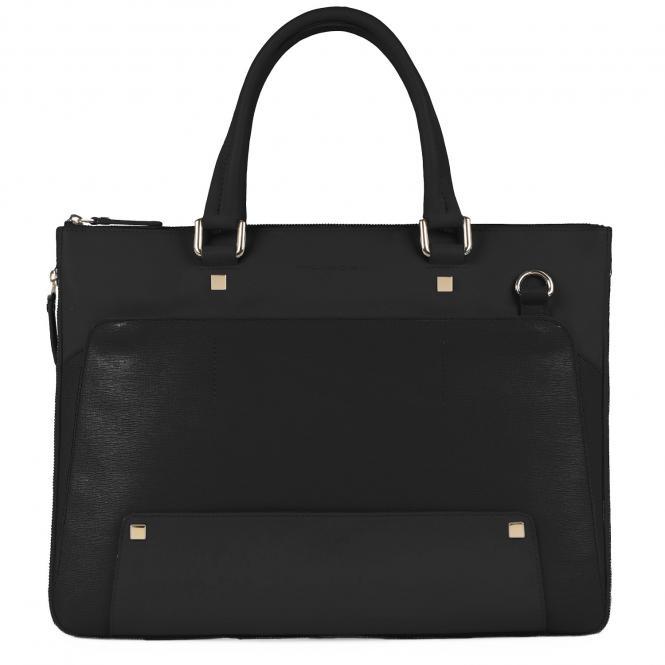 Erweiterbare Laptoptasche mit gepolstertem iPad®-Fach schwarz