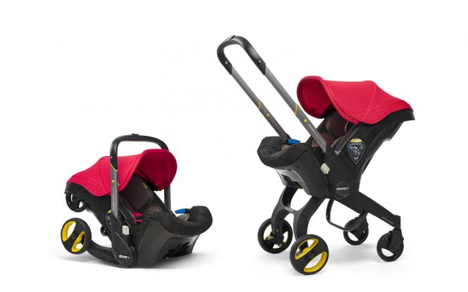 2-in-1 Babyschale mit ausklappbarem Fahrgestell Flame Red