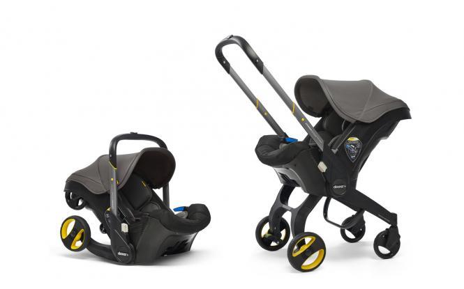 2-in-1 Babyschale mit ausklappbarem Fahrgestell Grey Hound