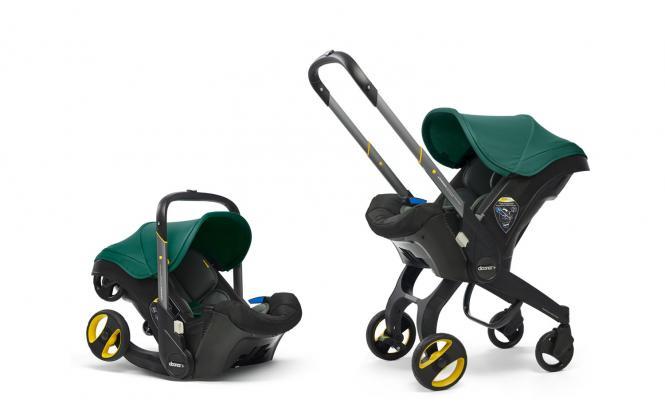 2-in-1 Babyschale mit ausklappbarem Fahrgestell Racing Green