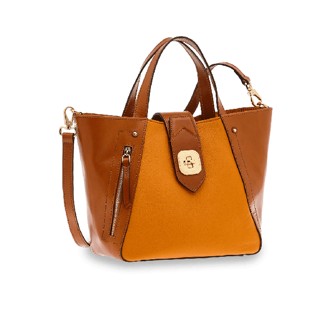Double Function Schultertasche Gelb/Gold