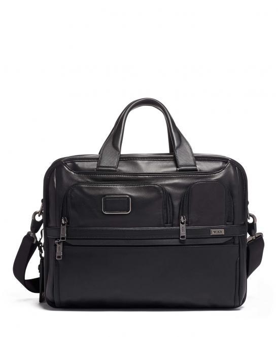 Organizer-Laptop-Aktentasche aus Leder, erweiterbar black