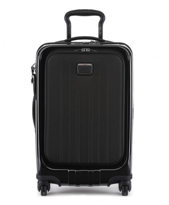 Koffer auf 4 Rollen 56cm, schmal mit Außenfach Schwarz