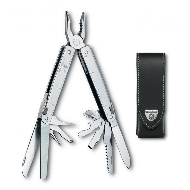 Taschenwerkzeug inkl. Leder-Gürteletui Silber
