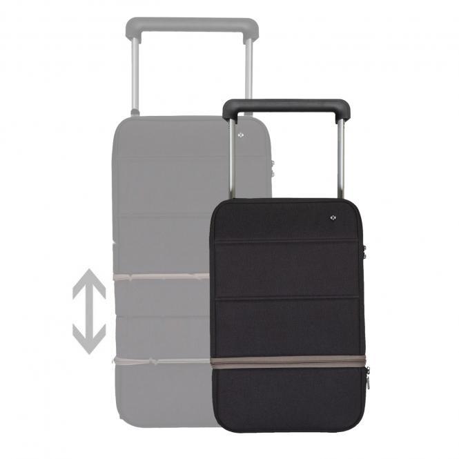 Carry on, erweiterbar, mit Powerbank und Fingerabdruck-Schloss Black - Silver