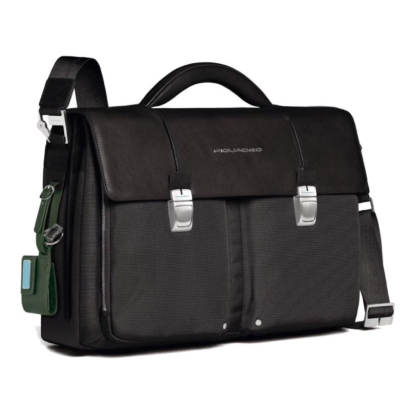 piquadro link laptoptasche mit zwei f chern black jetzt. Black Bedroom Furniture Sets. Home Design Ideas