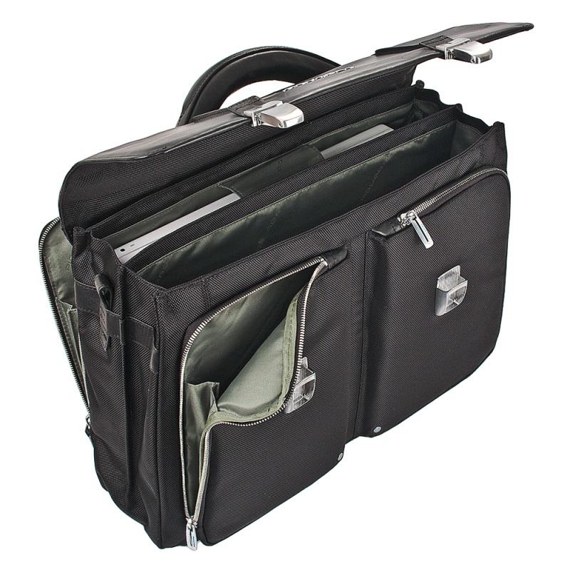 piquadro link laptoptasche mit zwei f chern black jetzt online kaufen bei. Black Bedroom Furniture Sets. Home Design Ideas